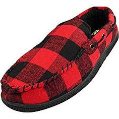 Norty Mens Moccasin Slip On Loafer Slipper Indoor/Outdoor Sole - 6 Colors, 40014 Black/Grey / X-Large Mens Moccasins Loafers, Large Black, Black And Grey, Matching Family Christmas Pajamas, Indoor Outdoor Slippers, Loafer Slippers, Slip On, Buffalo Plaid, Plaid Christmas