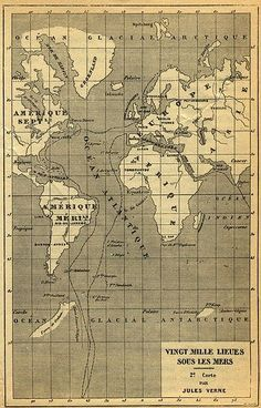 Nautilus's route through the Atlantic. (Jules Verne, Leagues Under the Sea). I need this framed and on a wall! Jules Verne, Atlantis, Nautilus Submarine, Steampunk Bathroom, Science Fiction, Map Quilt, Steampunk Halloween, Leagues Under The Sea, Sea Crafts