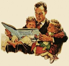 norman rockwell reading books at DuckDuckGo Vintage Children's Books, Vintage Cards, Vintage Images, Vintage Posters, Vintage Magazines, Retro Vintage, Books To Read, I Love Books, Reading Art