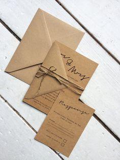 rustic wedding invitation setelegant wedding by peachyprintsuk