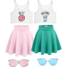 is part of Bff outfits - A fashion look from February 2017 featuring neon pink tank top, wide skirt and blue flared skirt Browse and shop related looks Teen Fashion Outfits, Mode Outfits, Outfits For Teens, Trendy Outfits, Girl Outfits, Summer Outfits, Twin Outfits, Tween Fashion, Best Friend T Shirts