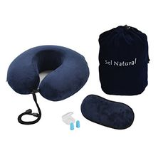 Memory Foam Travel Neck Pillow U Shape Neck Pillow with Sleep Mask Ear Plugs Carry BagAdjustable Toggles and Velour Cover Blue >>> Check this awesome product by going to the link at the image.