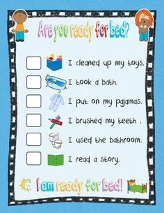 before bedtime checklist for kids - Google Search