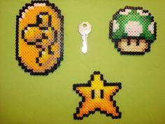 Mario stuff in perler by chocolatosa88