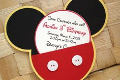 Mickey Mouse birthday invitation Used my cricut for most of this and it was super easy! Mickey Mouse Birthday Invitations, Theme Mickey, Mickey Mouse Clubhouse Birthday Party, Mickey Mouse Parties, Mickey Birthday, Mickey Party, Boy Birthday, Elmo Party, Birthday Ideas