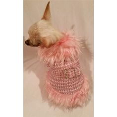 A luxury faux fur trimmed dog coat in  pink and off white tweed fabric fully lined and padding for warmth. Super high quality!