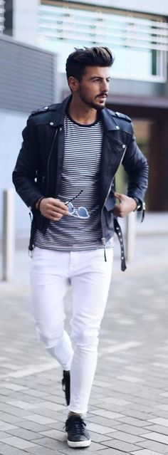 white denim with leather jacket