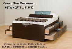 Prepac EBQ-6200-3C Coal Harbor Mate's Platform Storage Bed with 6-Drawers, Espresso, Queen