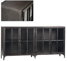 Industrial Metal Gunmetal Sheet Steel  w/Glass Doors Sideboard,72'' x 36''H. #Unbranded #INDUSTRIAL