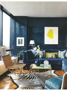 navy lacquered walls