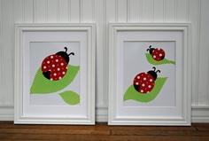 Paper CollageLadybug Art Pair, Nursery, Girl's Room, Two 8x10's, Paper Collage Art. $30.00, via Etsy.