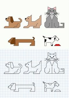 draw animals: dogs and cats Graph Paper Drawings, Graph Paper Art, Easy Drawings, Cat Cross Stitches, Cross Stitch Charts, Geometric Pattern Design, Pattern Art, Mazes For Kids, Art For Kids