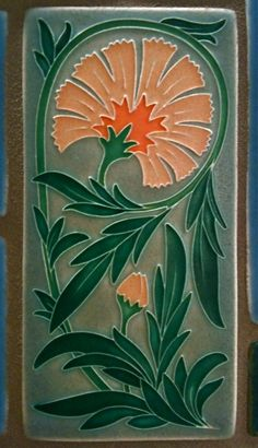 Motawi Tile, University of Michigan Hospital: Orange Carnation - - Tilework at University of Michigan hospital decorates the elevator lobbies in the main hospital. Motifs Art Nouveau, Azulejos Art Nouveau, Art Nouveau Pattern, Art Nouveau Tiles, Art Nouveau Design, Arts And Crafts Movement, Jugendstil Design, Vintage Tile, Art Moderne