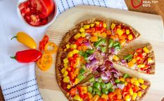 Bell peppers turn a regular homemade pizza into a healthy dinner that your kids will love! Healthy Pizza Recipes, Healthy Meals For Kids, Gourmet Recipes, Healthy Snacks, Healthy Eating, Cooking Recipes, Kid Snacks, Clean Recipes, Veggie Recipes