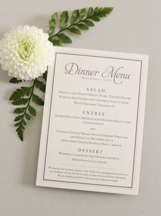 Personalize Purple and gray wedding menu card by Four 13 Designs