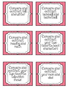 Compare and Contrast Jar for Workstations and... by Aimee VanMiddlesworth | Teachers Pay Teachers