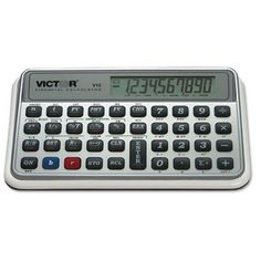 Victor V12 Financial Calculator, 10-Digit LCD by Victor. $10.14. Easily calculate loan payments interest rates standard deviation TVM NPV IRR cash flows bonds and more. Over 125 programmable options. Long lasting easy to replace AAA batteries. Soft carrying case included. Power Source(s): Battery Display Notation: Numeric Number of Display Digits: 10 Display Characters x Display Lines: N/A.Unit of Measure : Each