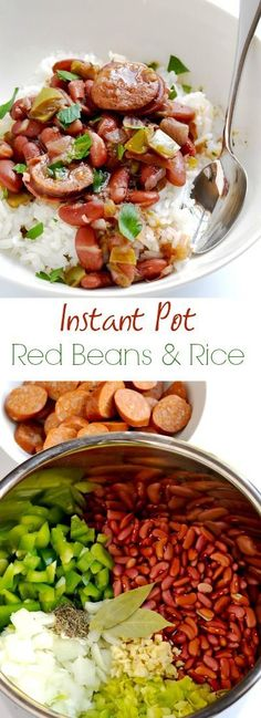 Instant Pot Red beans and rice is a flavorful dish that you can make without having to wait all day, thanks to the magic of the pressure cooker. And you do not have to presoak the beans. - Veganize this by using vegan sausage Pressure Cooking Recipes, Slow Cooker Recipes, Crockpot Recipes, Rice Recipes, Chicken Recipes, Sausage Recipes, Healthy Recipes, Veggie Sausage, Bariatric Recipes