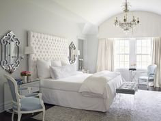Beautiful bedroom designed in cool tones of icy silver and light blue . Baby boy nursery colors?