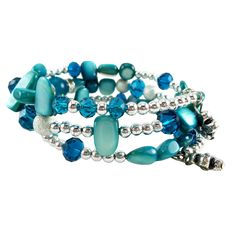 Memory Wire Wrap Bangle Teal/Silver