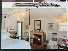 A master bedroom in a Martha's Vineyard, Massachusetts, home is anchored by a Rose Tarlow Melrose House four-poster; the Portland limestone mantel is by Chesney's. Home Bedroom, Bedroom Decor, Master Bedrooms, Guest Bedrooms, Nice Bedrooms, Summer Bedroom, Guest Room, Bedroom Furniture, Melrose House