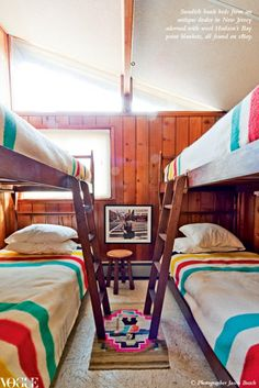 Cabin Decor--love the Hudson Bay blankets!