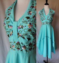 70s Turquoise Mexican Boho Halter Vintage by vintagedivineshop, $38.00