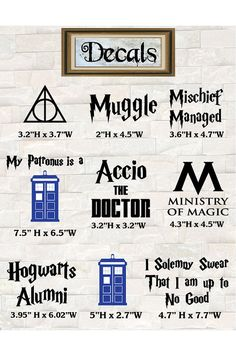 Harry Potter and Doctor Who Inspired Car Decals by ForbiddenForest, $3.00