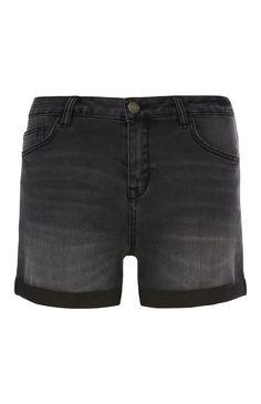 Primark - Korte zwarte spijkerbroek met omslag