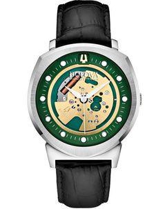 Bulova Accutron II Alpha Watch - Green Skeleton Dial & Leather Strap – Princeton Watches