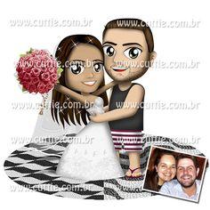 Caricatura para casamento - Noivos Denise e Bruno- noivinhos cuttie
