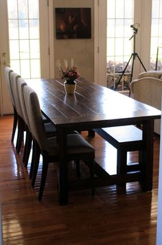Landlocked: Farmhouse Dining Table and Bench (person used Ana White's plan)