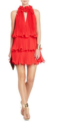 BCBG Red Arabella Pleated Floral Accents Cocktail Dress