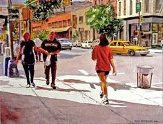 Ruth Newquist, Watercolor Cityscapes of New York, Award-winning Paintings Watercolor City, Watercolor Paintings, Same Ol Same Ol, City Streets, Street Art, Everyday Activities, Figurative, Drawings, Walking