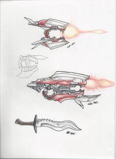 Halo - Jackals and Grunts concept batch by on DeviantArt Halo Drawings, Halo Armor, Halo Game, Ninja Sword, Gun Art, Weapon Concept Art, Drawing Games, Fantasy Weapons, Dark Fantasy Art