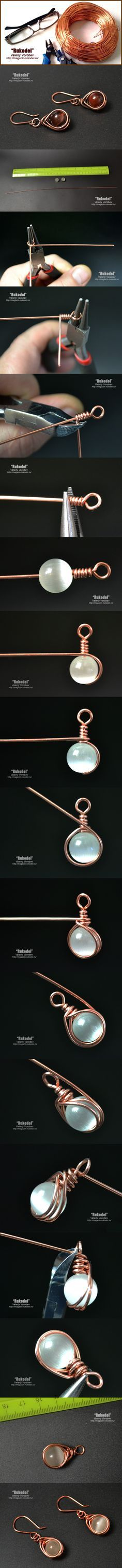 Earrings from wire and beads. A lesson for beginners. For work we need a copper wire 1 mm or 0.8 mm (length 30-40 cm). Beads with a diameter of 10 – 8 mm. . For …