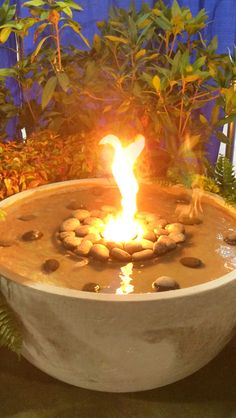 A fire & water fountain feature like this really gets you outside to enjoy! Water Fountains, Fire, Outdoor Decor, Water Sources, Fuentes De Agua, Fountain, Water Features, Fractions