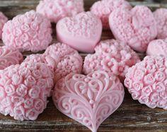 20 corazón de color rosa jabón favores: favores de la boda, cumpleaños de favores, favores de la playa, bebé ducha favores, día de las madres