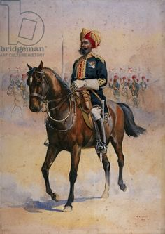 Soldier of the 14th Murray's Jat Lancers, Risaldar-Major, illustration for 'Armies of India' by Major G.F. MacMunn, published in 1911, 1909 ...