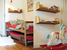 love the vintage trundle bed.  boys can have space saving bunk beds without the high bunk bed.