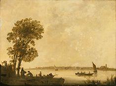 Albert Cuyp - Rivierlandschap met boeren die een aak lossen en Dordrecht in de verte