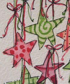 "Weihnachtskarte Aquarell ""Stars I Love"" Original mit Umschlag betrueoriginalart"
