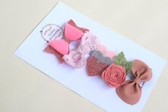 Your place to buy and sell all things handmade Baby Girl Hair Clips, Bow Hair Clips, Pink Hair Bows, Baby Hair Bows, Glitter Hair, Glitter Hearts, Felt Hearts, Diy Bow, Diy Ribbon