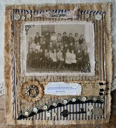 Beautiful heritage fabric collage by Nancy Maxwell James.