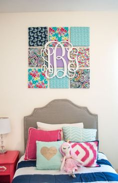 DIY Fabric + Monogram Wall Art - we love this preppy look in the nursery or kids room! Plus, you can change out fabric over time! #PNpartner