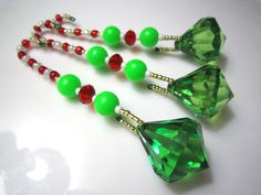 ON SALE: 3 Elf Theme Red White and Green Beaded Diamond Dangles on Beaded Hangers