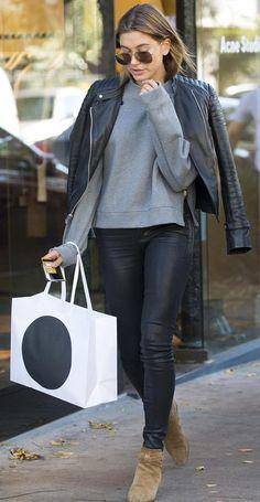 Hailey Baldwin in Double Leather