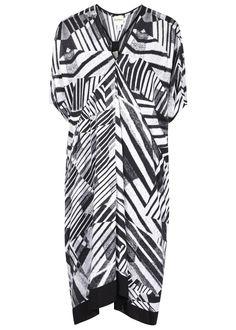 DKNYPURE black and white viscose dress Printed, draped front, short dolman sleeves, contrast chiffon�hem, longer back,�detachable jersey slip lining� Slips on  Fabric1: 100% viscose; fabric2: 100% polyester; lining: 100% modal