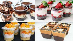 Sibas Rezepte: 4 Easy No Bake Dessert Cup Rezept Parfait Desserts, Mini Desserts, Eggless Desserts, Parfait Recipes, Easy No Bake Desserts, Pudding Desserts, Dessert Party, Dessert Boxes, Dessert Cups