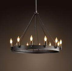 "Camino Round Chandelier Extra Small 26.25"" diam, 36"" high, 6"" and 12"" rods"